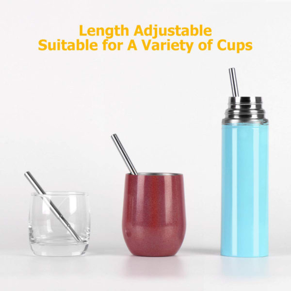 an image of our reusable stainless steel straws at different sizes in 3 different cups. Our re-usable straws extend and fit multiple size cups, glasses, or bottles